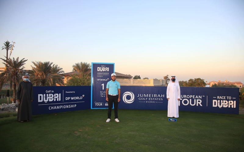 Ahmad Skaik starts the countdown to the 2023 Eisenhower Trophy on the Fire Course