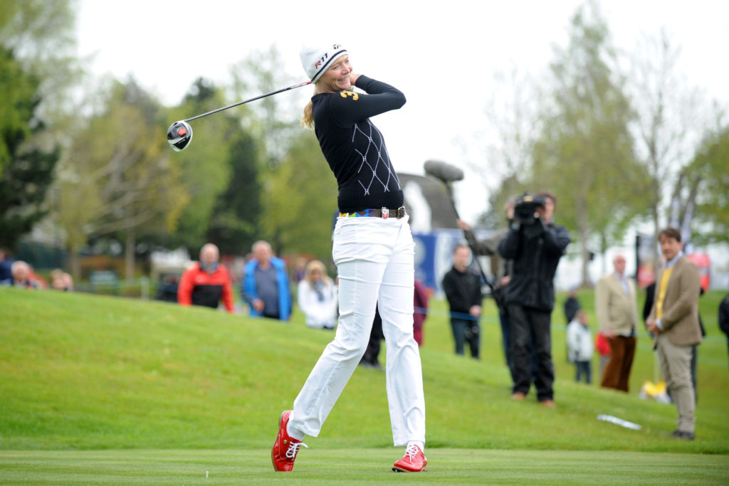 NEWPORT, UNITED KINGDOM - MAY 10: Jodie Kidd tees off on the 8th hole during the Celebrity Golf Club Live event at Celtic Manor Resort on May 10, 2013 in Newport, Wales. (Photo by Matthew Horwood/Getty Images)