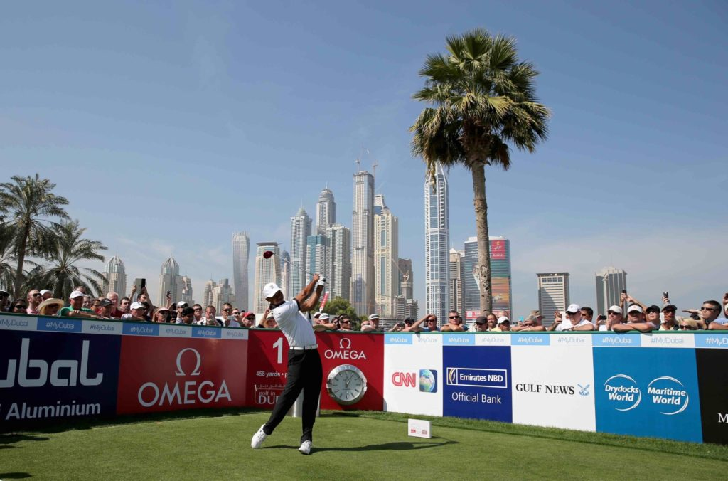 during The 'Champions' Challenge' match as part of the 25th Anniversary Celebrations at Emirates Golf Club on January 28, 2014 in Dubai, United Arab Emirates.