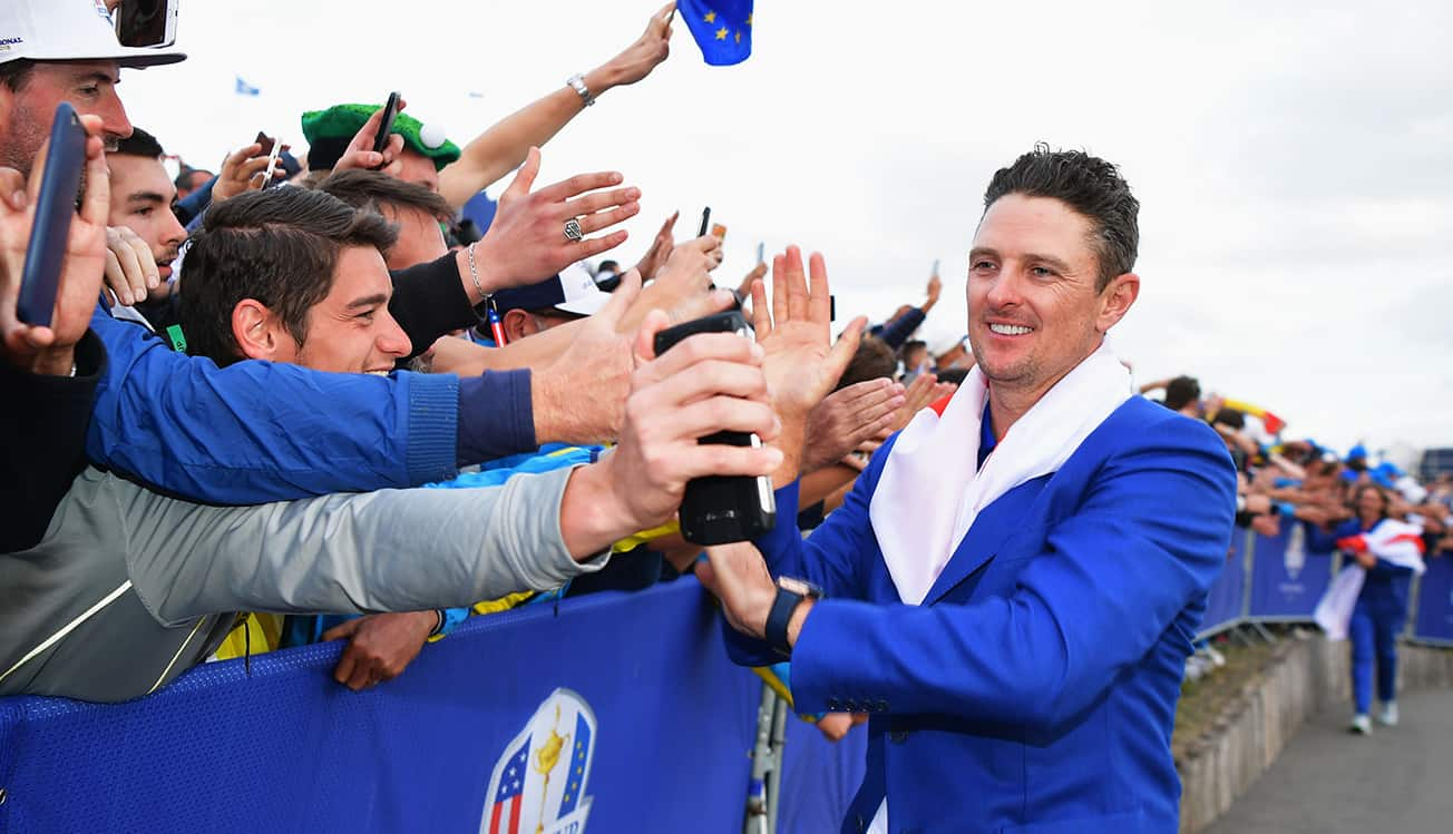 Justin Rose celebrates with Ryder Cup fans